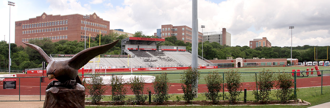 football stadium with running track visible
