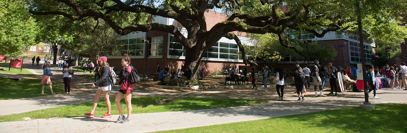 Students walking on the campus of the University of the Incarnate Word