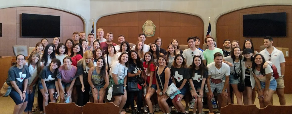 UIW's international students pose for a photo