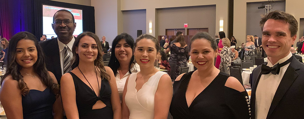 UIW students pose for a photo with UIW faculty at SAAHJ gala