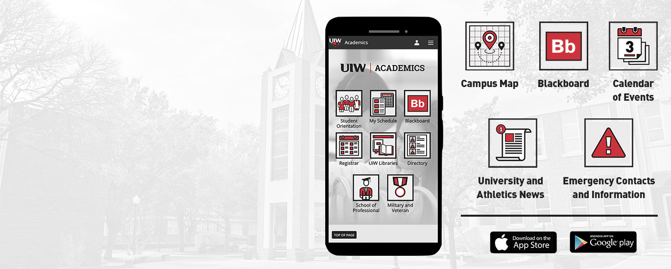 Phone screen with the academics section of the UIW mobile app open and several icons depicting content sections found in the app